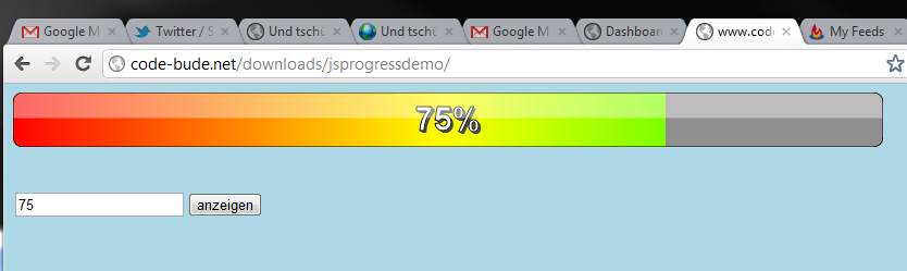 JavaScript Progressbar mit HTML5 Canvas