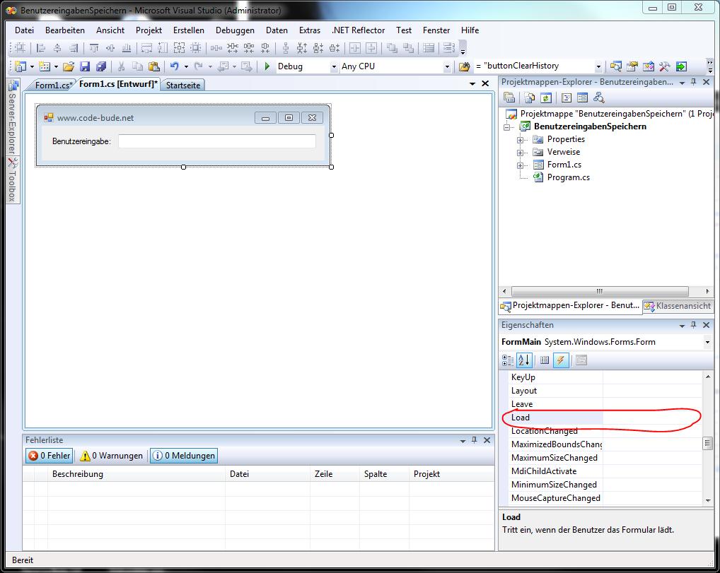 Benutzereingaben in C# speichern am Beispiel einer Textbox