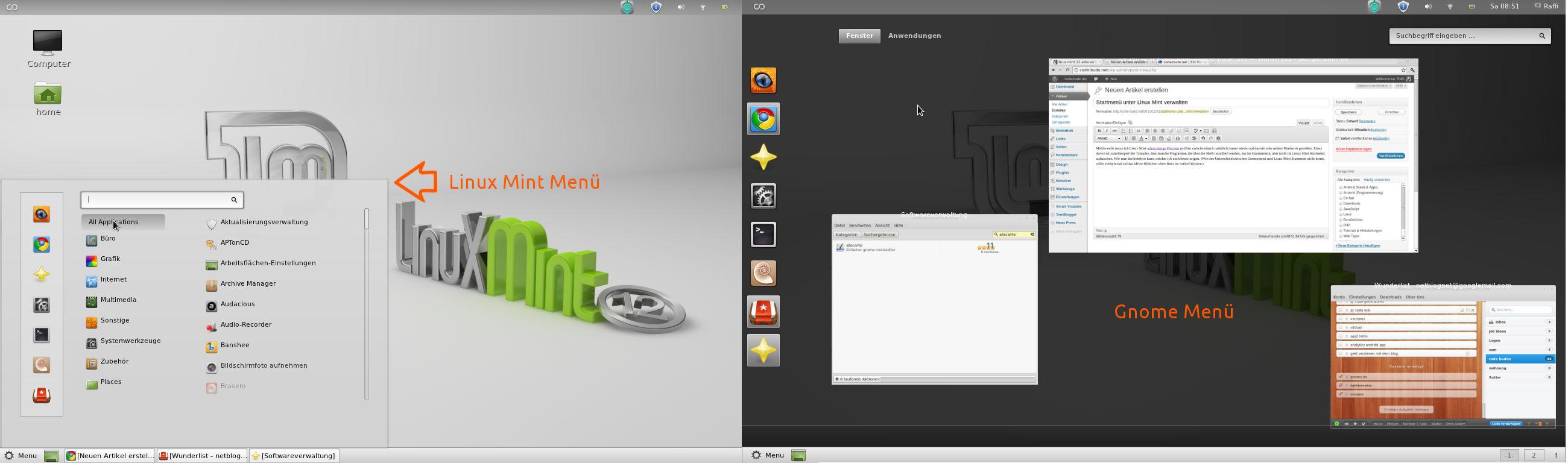 Startmenü unter Linux Mint verwalten