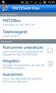 Fritz!App Fon Einstellungen