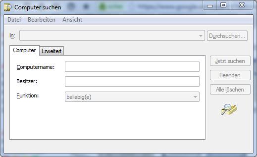 Active Directory Suche unter Windows 7