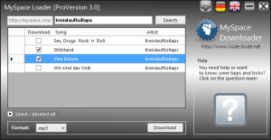 myspace 3.0 2 300x155 Projekt: MySpace Loader ein MySpace Downloader