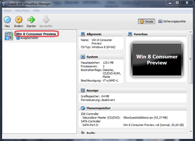 Anpassen der Bildschirmauflösung von Windows 8 in der VirtualBox