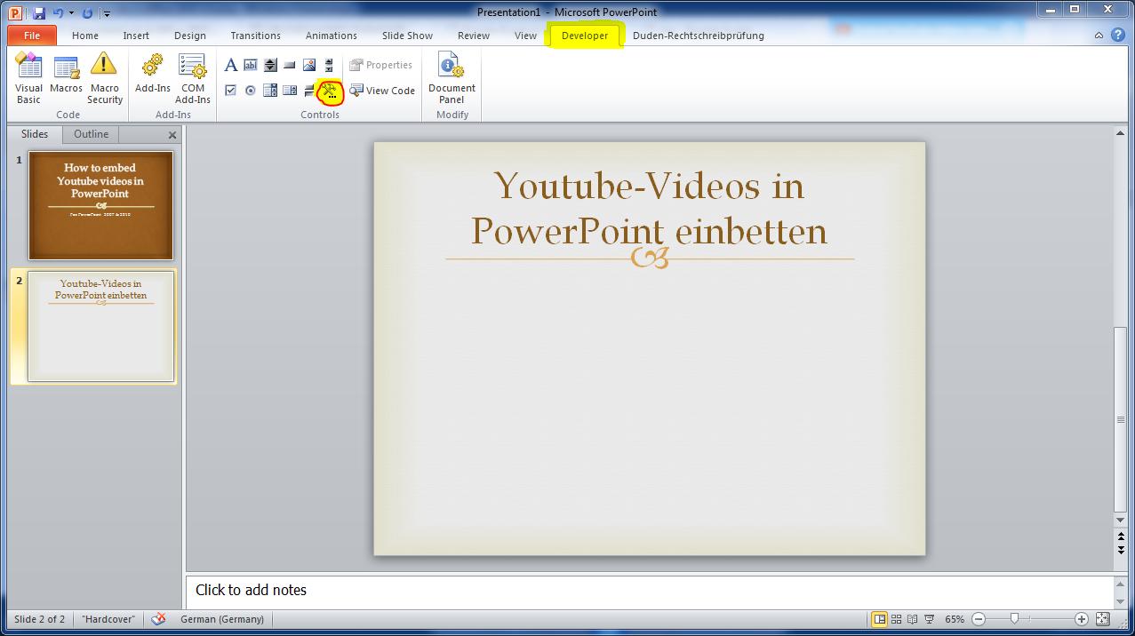 Anleitung: Youtube Videos in PowerPoint 2007 Präsentation einbetten