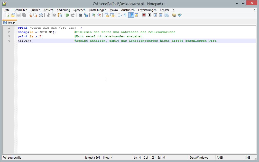 Perl Scripte direkt in Notepad++ ausführen