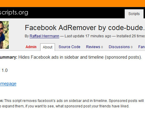 Facebook AdRemover Userscript