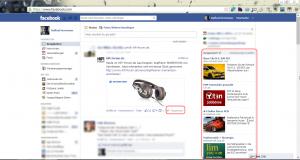 Facebook mit Werbung