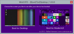Win8 BTD - [B]oot[T]o[D]esktop  1.0.0.0 Screenshot 1