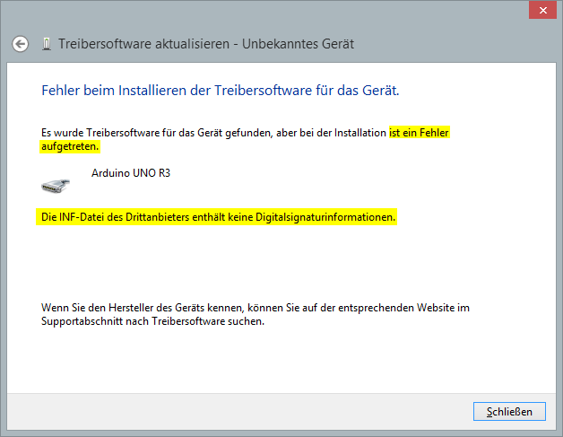Arduino Treiber unter Windows 8 installieren