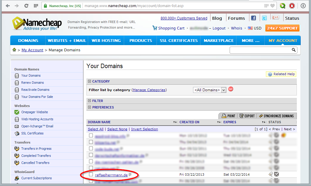 DynDNS für Domains bei Namecheap.com einrichten
