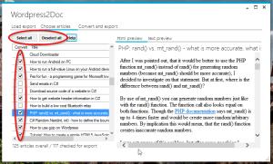 Wordpress2Doc Artikel auswählen