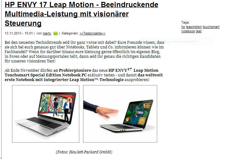 Das neue HP Notebook mit Leap Motion demnächst im Test