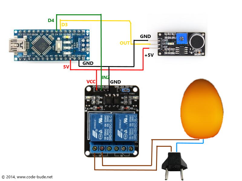 Lampe per Klatschen an- und ausschalten mit dem Arduino