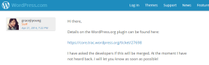 Wordpress klassichen Bildeditor wiederherstellen - Kommentar des WP Staff