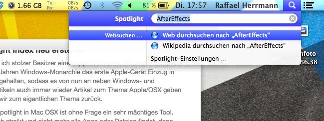 Mac OS X Spotlight Index neu erstellen