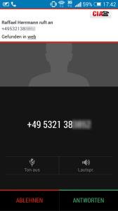 CIA Anruferkennung in Aktion