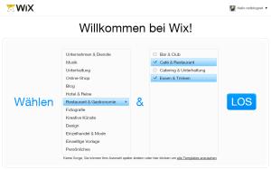 WIX Kategoriewahl