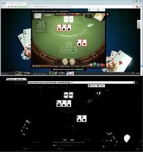 Screenshot des Spieltischs - vor und nach der Bearbeitung für den Blobcounter