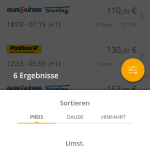 GoEuro App - Filter