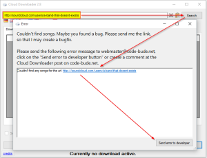 Cloud Downloader 2.8 - Error-Dialog