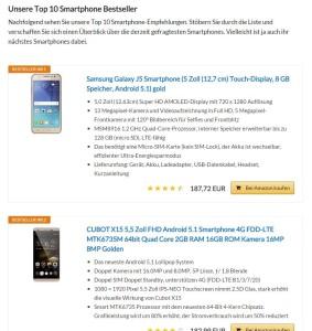 Smartphone Bestseller auf smartphone-aufladen.de