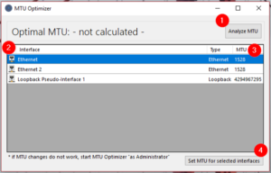 MTU Optimizer Screenshot