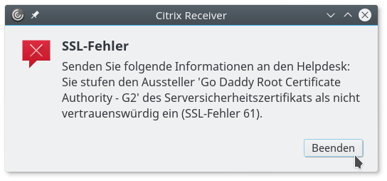 How to fix SSL error 61 in Citrix Web Receiver on Linux | en