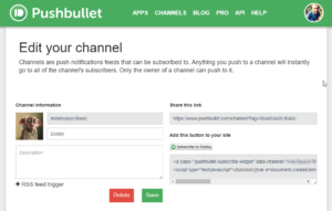 Pushbullet Channel anlegen